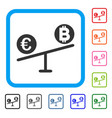 bitcoin euro market swings framed icon vector image vector image