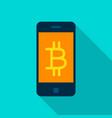 bitcoin mobile flat icon vector image vector image
