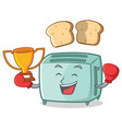 boxing toaster character cartoon style vector image vector image