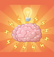 brain and ligh bulb as idea concept vector image vector image