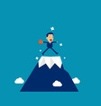 businessman at top mountain concept cute vector image