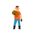 cheerful male farmer gardener character at work vector image vector image