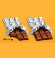chocolate bars 3d realistic vector image vector image