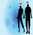 couple in love among the snowflakes vector image vector image