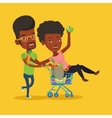 Couple of friends riding by shopping trolley vector image vector image