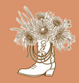 cowboy boot with flowers and lasso decor vector image