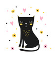 cute black cat isolated on white background vector image