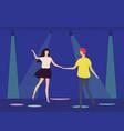 dancing people in disco club under spotlights vector image