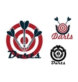 Darts emblems with dartboards and arrows vector image vector image