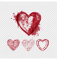 doodle hearts with blots and lines valentines day vector image vector image