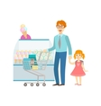 Father And Daughter Shopping For Sweets Shopping vector image