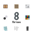 flat icon games set of dice gomoku multiplayer vector image