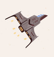 futuristic spaceship with fire flames flying vector image vector image