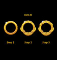 golden round frame app 3 steps to progress vector image