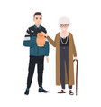 grandson and grandmother petting little dog vector image vector image