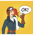 hand drawn pop art style of retro woman pilot vector image vector image
