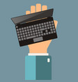 hand holding laptop buying presentation laptop vector image vector image