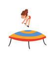 happy girl jumping on trampoline smiling little vector image vector image