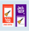 happy halloween invitation design with broom vector image