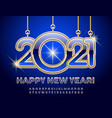 happy new year 2021 greeting card chic alphabet vector image vector image