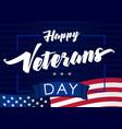 happy veterans day 11 november navy blue banner vector image vector image