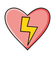 heart love with power ray pop art style vector image vector image