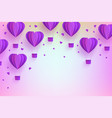 heart shaped violet hot air balloons in trendy vector image vector image
