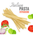 italian pasta poster with fresh vegetables vector image vector image