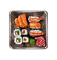 japanese food menu vegetarian set vector image