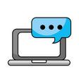 laptop online speech bubble chat communication vector image vector image