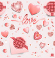 love seamless pattern with romantic pink objects vector image vector image