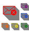 mail sign with cacel mark set of red vector image vector image