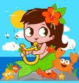 mermaid sea playing music vector image vector image