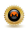 monero cryptocurrency coin gold badge vector image