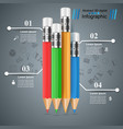 pencil education icon business infographic four vector image