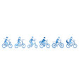 people cyclist set isolated on white background vector image
