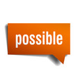 possible orange 3d speech bubble vector image vector image