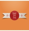 Realistic white Ribbon with red New Year Label vector image vector image