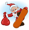 santa claus with gift bag on snowboard vector image vector image