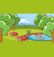 scene with turtle in pond vector image vector image