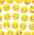 seamless pattern with cheerful happy smileys vector image vector image