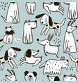 seamless pattern with cute hand drawn dogs vector image vector image