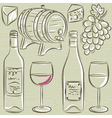 set of glases and bottles for wine vector image vector image