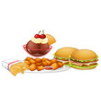 set of junk food vector image