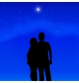 Silhouette couple in love background of stars vector image vector image