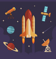 space exploration flat icon set rocket vector image