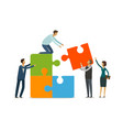 teamwork concept business people with puzzle vector image