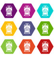 train icons set 9 vector image vector image