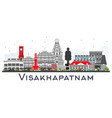 visakhapatnam skyline with gray buildings vector image vector image