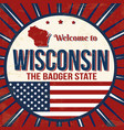 welcome to wisconsin vintage grunge poster vector image